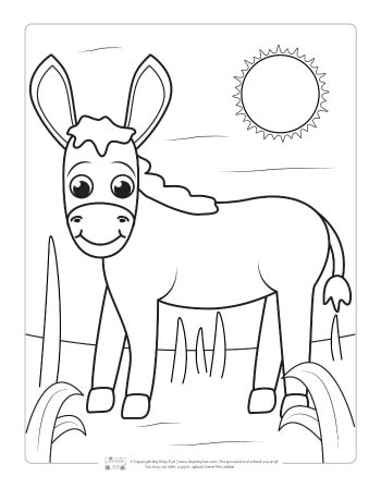 A donkey coloring page for kids.