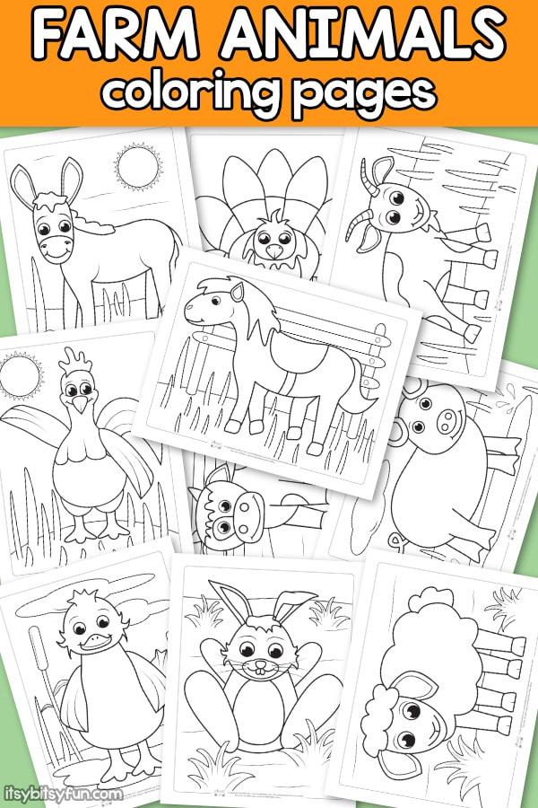 Free Farm Animals Coloring Pages for Kids. You will get 10 cute and free coloring pages to keep the kids busy and entertain for hours. In this pack you get donkey coloring page, horse coloring page, cow, han and many more.