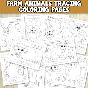 Free Farm animals tracing coloring pages for kids.