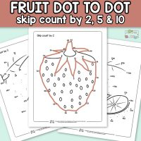 Fruits Dot to Dot Skip Counting Worksheets – by 2s, by 5s and by 10s