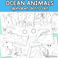 Ocean Animals Alphabet Dot to Dot Worksheets