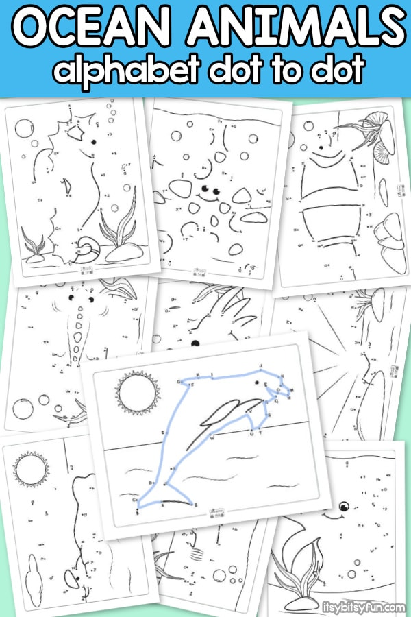 Ocean Animals Alphabet Dot to Dot Worksheets for Kids. These alphabet printables are super fun boredom busters and educational at the same time.