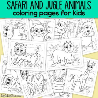 Safari and jungle animals coloring pages for kids.