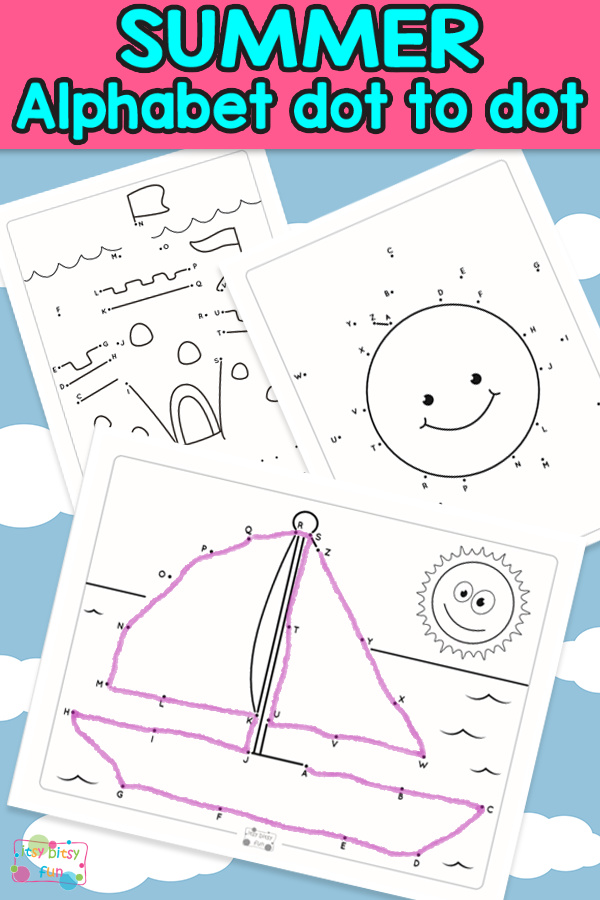 Summer Alphabet Dot to Dot Worksheets for Kids