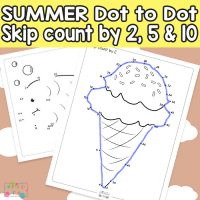 Summer Dot to Dot Skip Counting Worksheets – by 2s, by 5s and by 10s