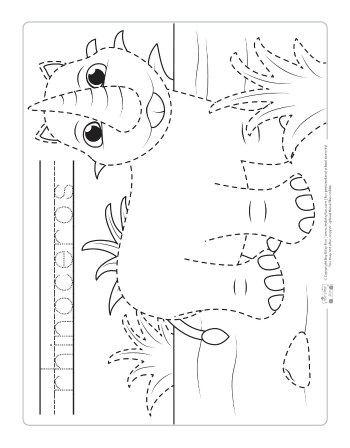 Rhino coloring page for kids.