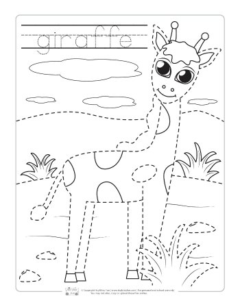 Giraffe coloring page for kids.