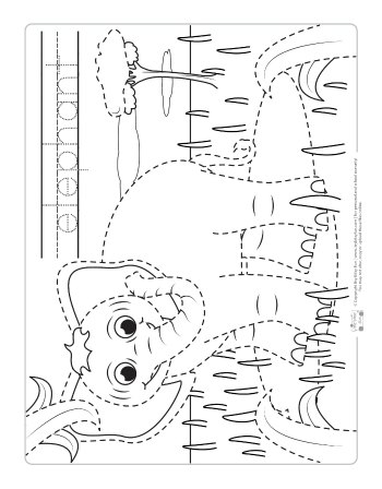 Elephant coloring page for kids.