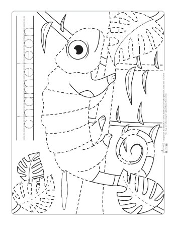 Chameleon coloring page for kids.