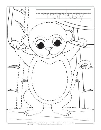 Monkey coloring page for kids.