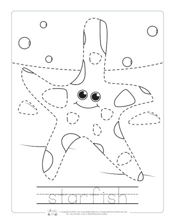 Star fish tracing worksheet.