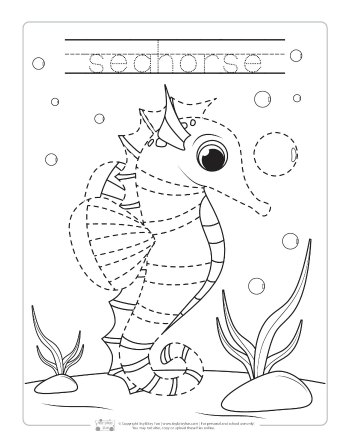 Ocean Animals Tracing Worksheets Itsy Bitsy Fun