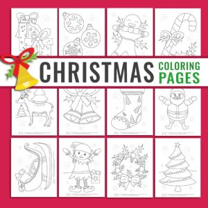10 cute Christmas coloring pages for kids.