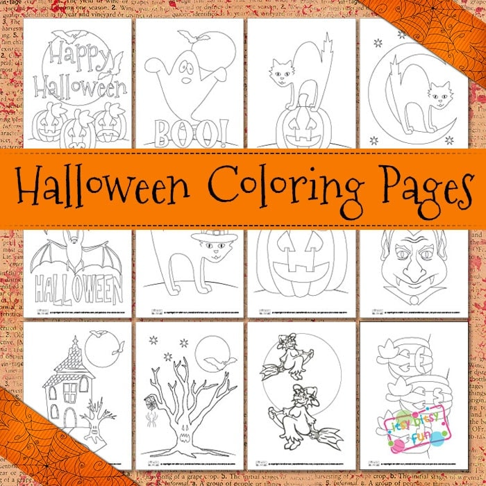 12 Halloween coloring pages for kids.
