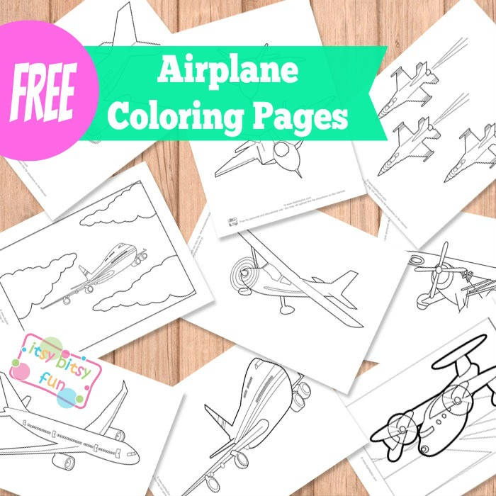 Airplane coloring pages for kids.