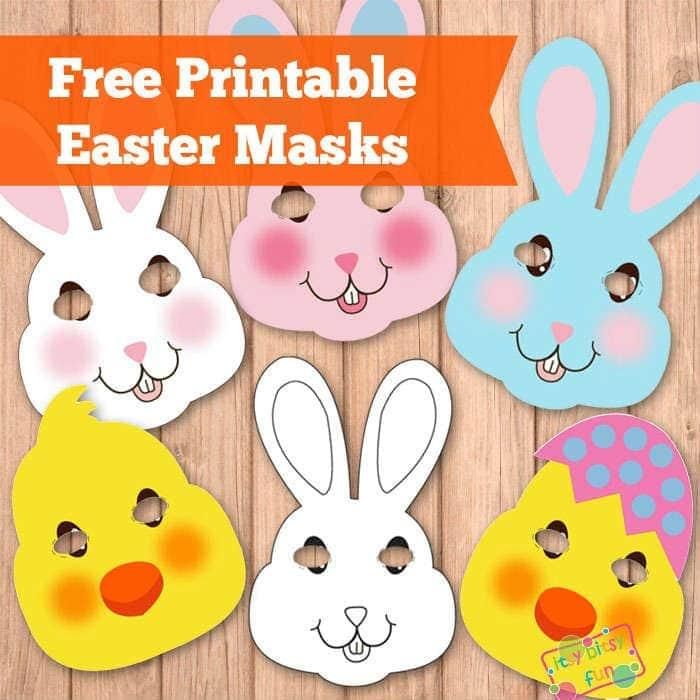 Printable Easter masks to color.