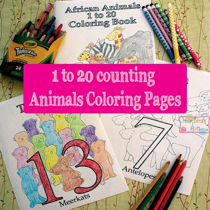 African animals coloring pages for kids - counting to 20.