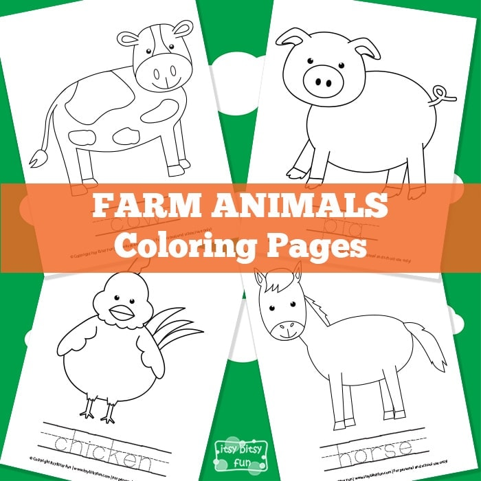 Cute farm animals coloring pages for kids.