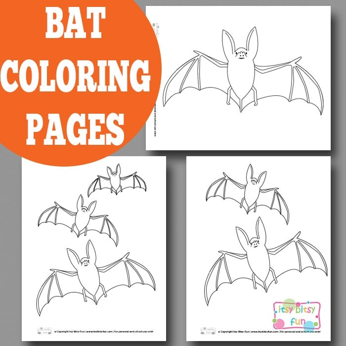 Bat coloring pages for kids.