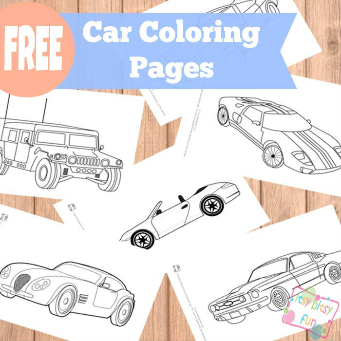 Car coloring pages for kids.