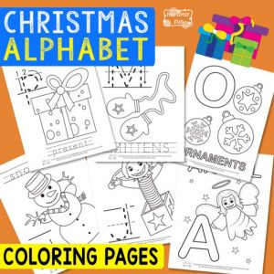 Christmas alphabet coloring pages for kids.