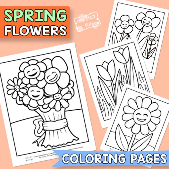 Flower coloring pages for kids.