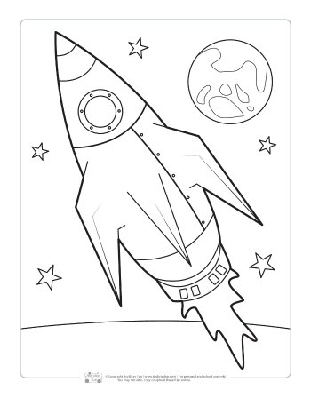 Space rocket coloring page for kids.