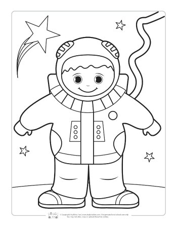An astronaut coloring page for kids.