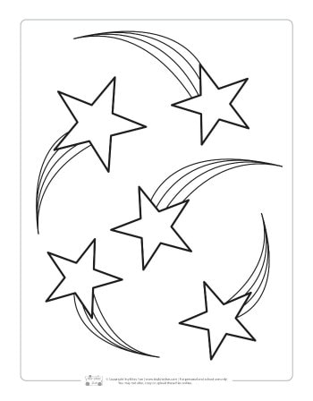 Shooting stars coloring page for kids.
