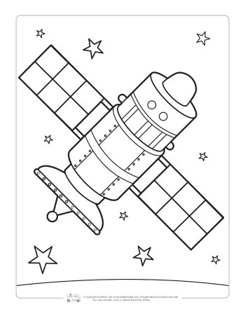 Satellite coloring page for kids.