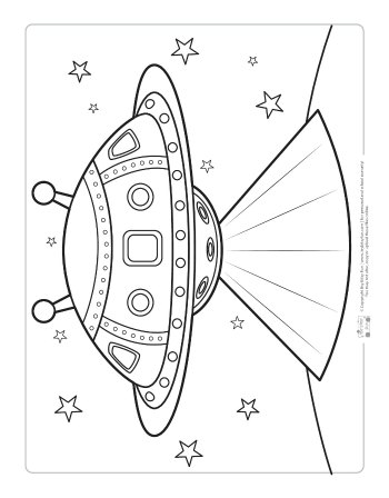 UFO coloring page for kids.