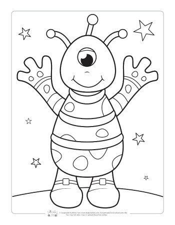 An alien coloring page for kids.