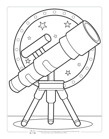 Telescope coloring page for kids.