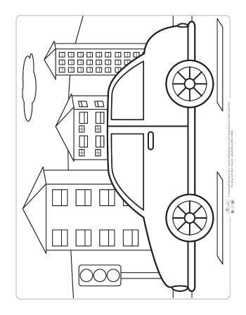 Car coloring page for kids.