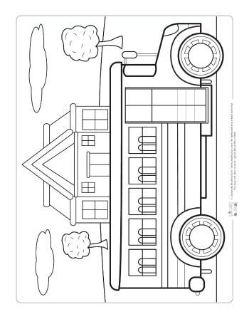 A bus coloring page for kids.