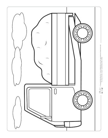 A truck coloring page for kids.