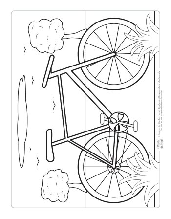 A bicycle coloring page for kids.