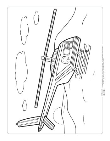 A helicopter coloring page for kids.