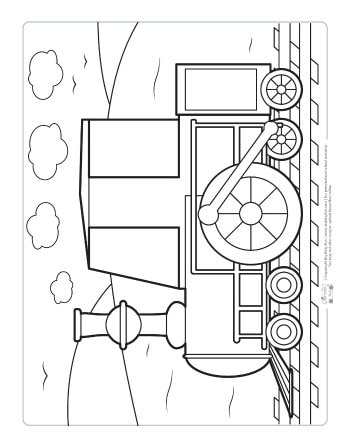 A locomotive coloring page for kids.
