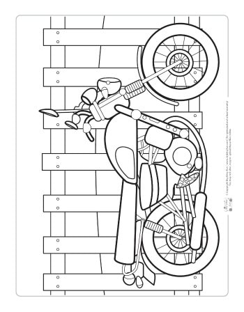 A motorbike coloring page for kids.