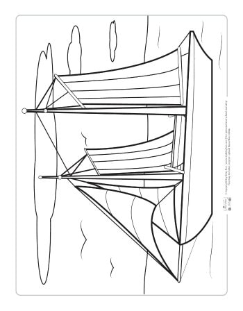 A sailboat coloring page for kids.
