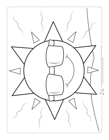 Sun coloring page for kids.