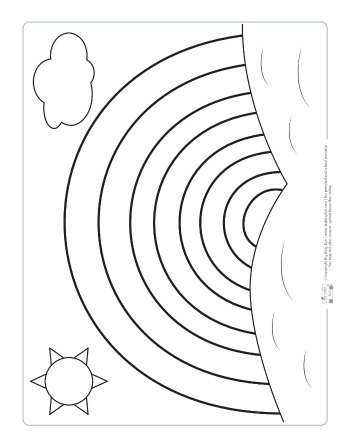 Rainbow coloring page for kids.