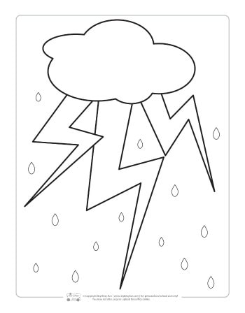 Thunder storm coloring page for kids.