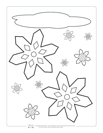 Snowing coloring page for kids.