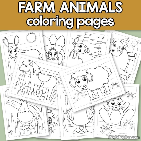 Farm animals coloring pages for kids.