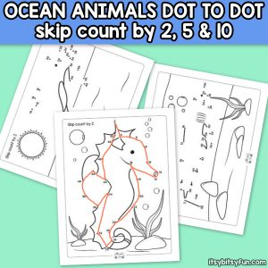 Ocean Animals Dot to Dot Skip Counting by 2s, by 5s and by 10s