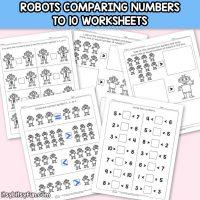 Robots Comparing Number Worksheets