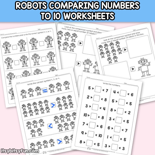 Robots Comparing Numbers to 10 Worksheets