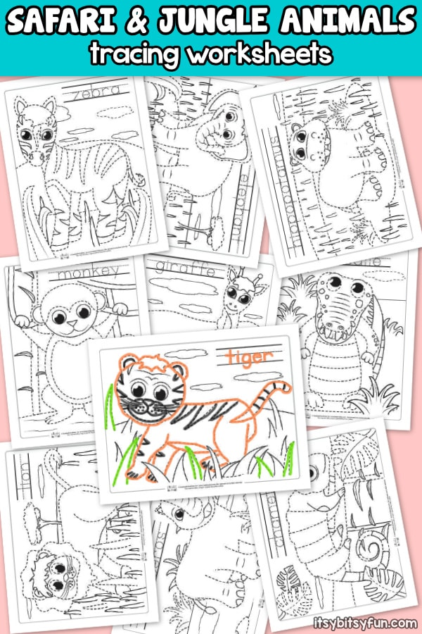 Safari and Jungle Animals Tracing Worksheets for Kids. 10 Unique Printables to Trace and Color.